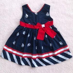 Baby Toddler Girl Blue Red White Nautical Dress ⛵️